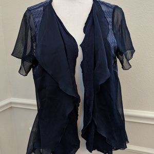 Anthropologie Knitted & Knotted Cardigan Blue Lace